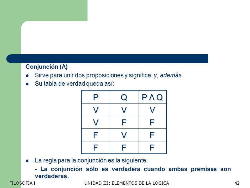 P Q P Λ Q V F Conjunción (Λ)