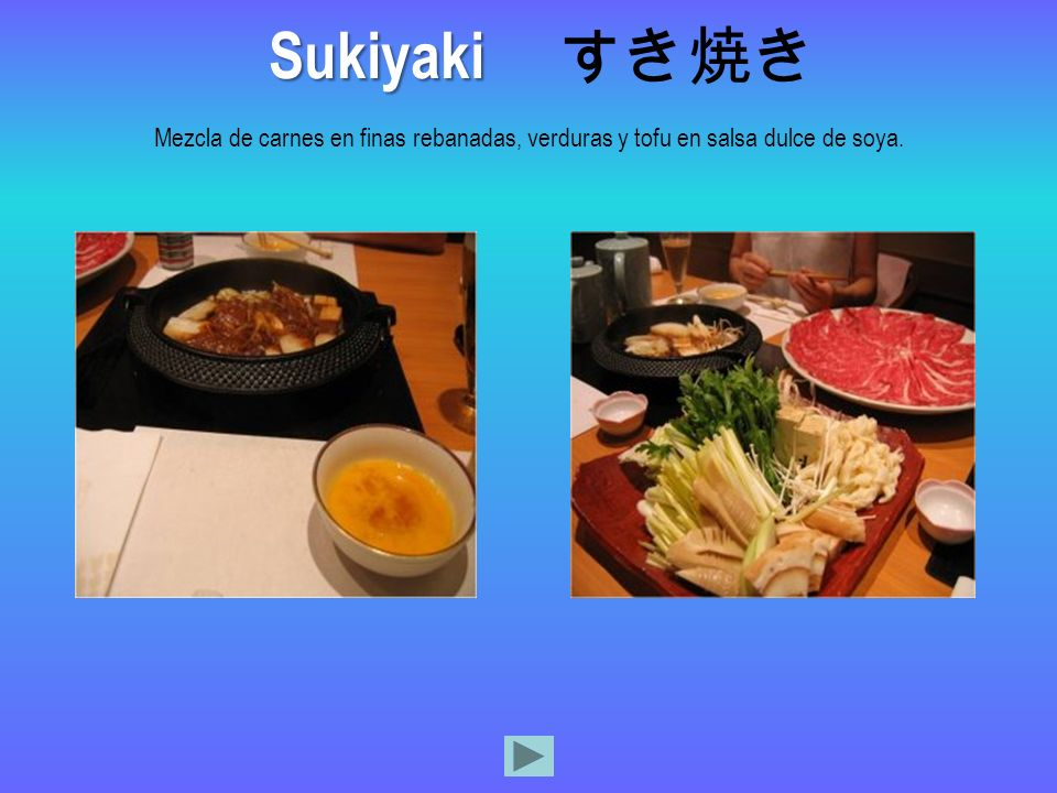 Sukiyaki すき焼き Mezcla de carnes en finas rebanadas, verduras y tofu en salsa dulce de soya.