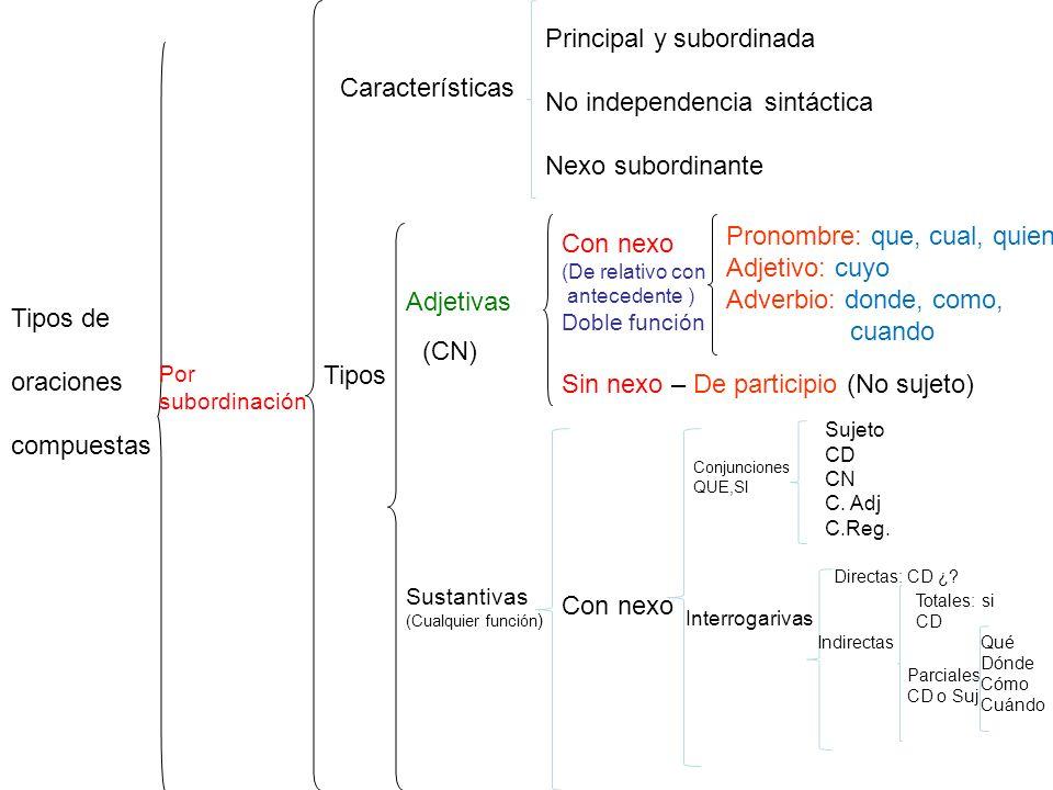 Principal y subordinada No independencia sintáctica Nexo subordinante