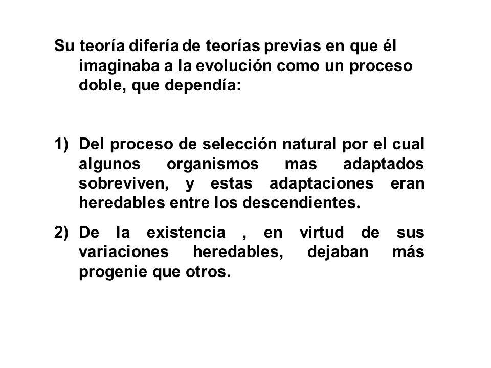 Su teoría difería de teorías previas en que él imaginaba a la evolución como un proceso doble, que dependía: