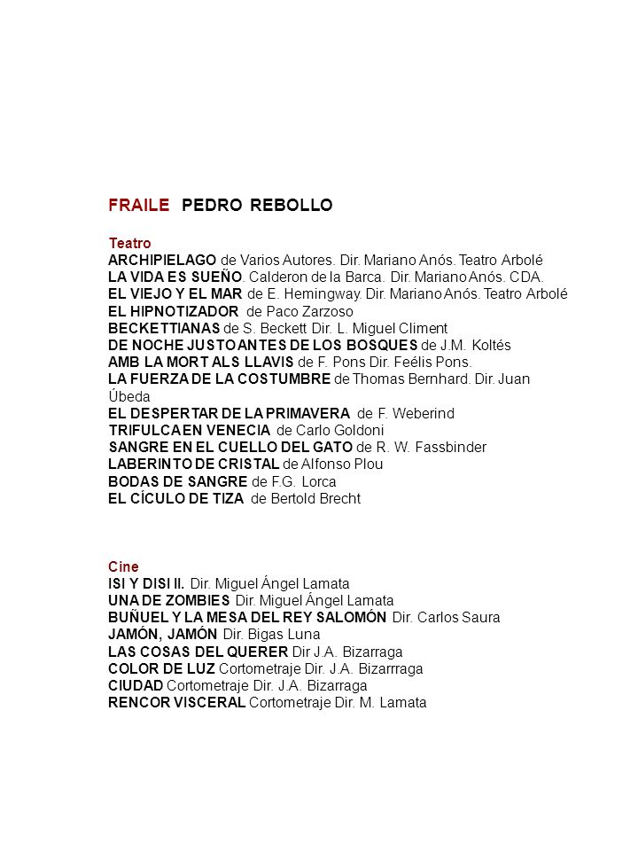 FRAILE PEDRO REBOLLO Teatro