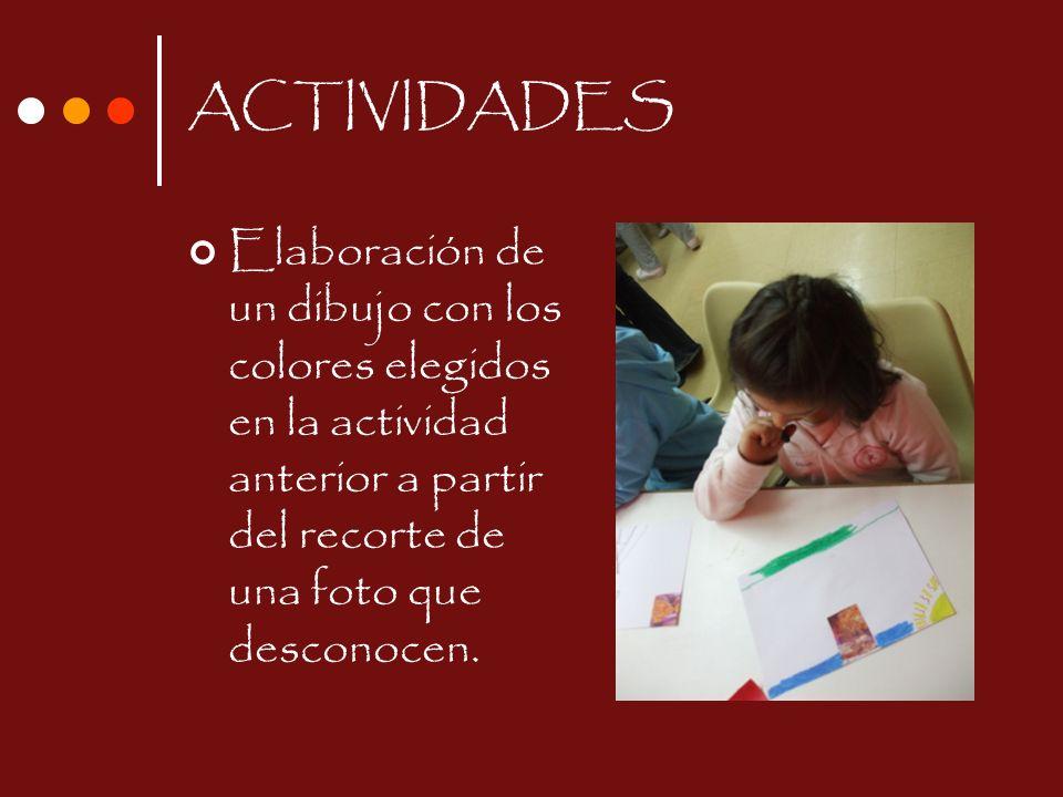 ACTIVIDADES Elaboración de un dibujo con los colores elegidos en la actividad anterior a partir del recorte de una foto que desconocen.