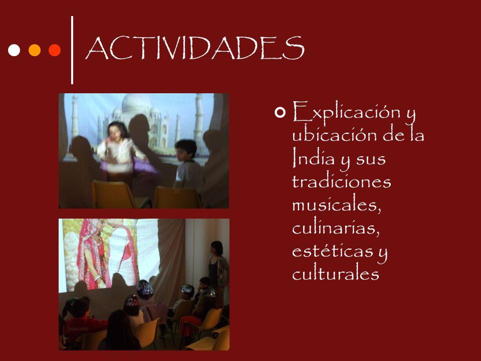 ACTIVIDADES Explicación y ubicación de la India y sus tradiciones musicales, culinarias, estéticas y culturales.