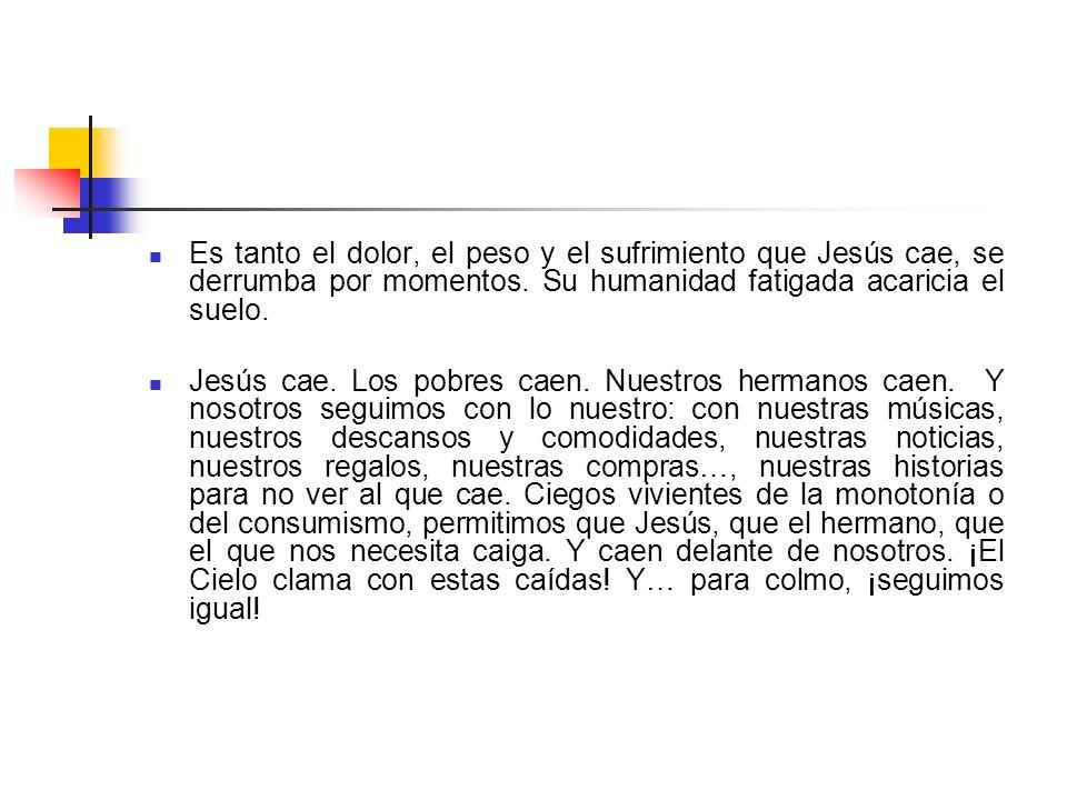 Es tanto el dolor, el peso y el sufrimiento que Jesús cae, se derrumba por momentos. Su humanidad fatigada acaricia el suelo.