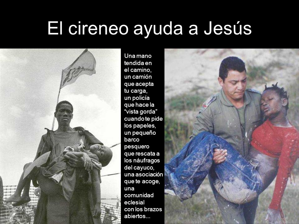 El cireneo ayuda a Jesús