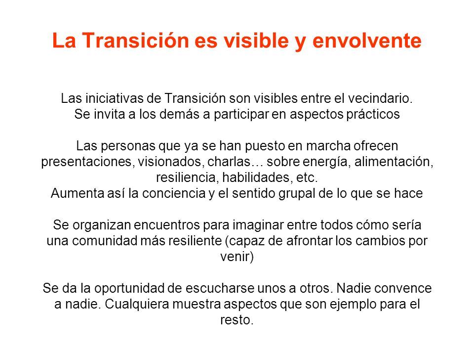 La Transición es visible y envolvente Las iniciativas de Transición son visibles entre el vecindario.