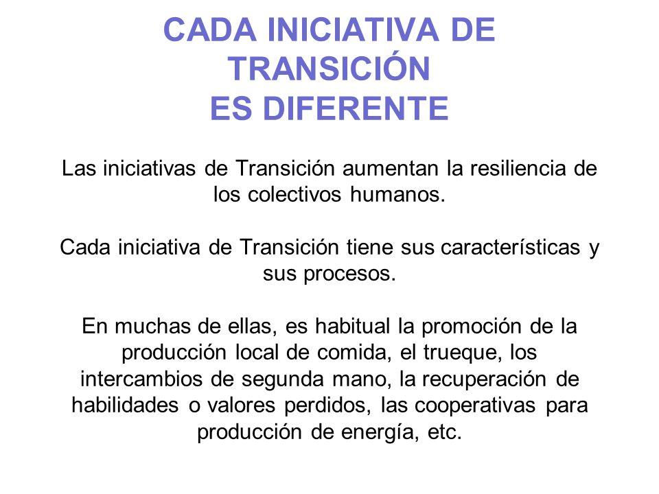 CADA INICIATIVA DE TRANSICIÓN ES DIFERENTE Las iniciativas de Transición aumentan la resiliencia de los colectivos humanos.