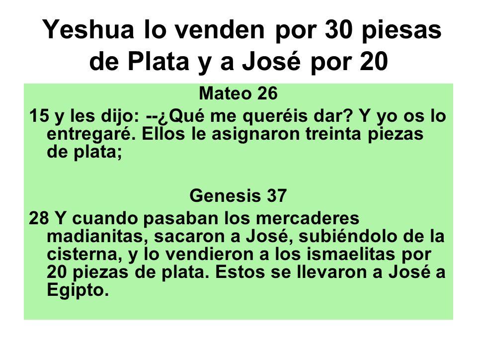 Yeshua lo venden por 30 piesas de Plata y a José por 20