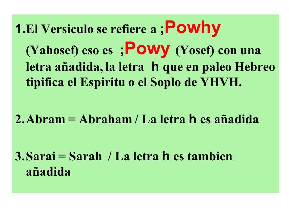 1. El Versiculo se refiere a ;Powhy (Yahosef) eso es ;Powy (Yosef) con una letra añadida, la letra h que en paleo Hebreo tipifica el Espiritu o el Soplo de YHVH.