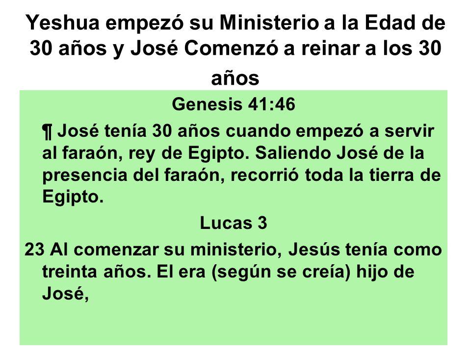 Yeshua empezó su Ministerio a la Edad de 30 años y José Comenzó a reinar a los 30 años
