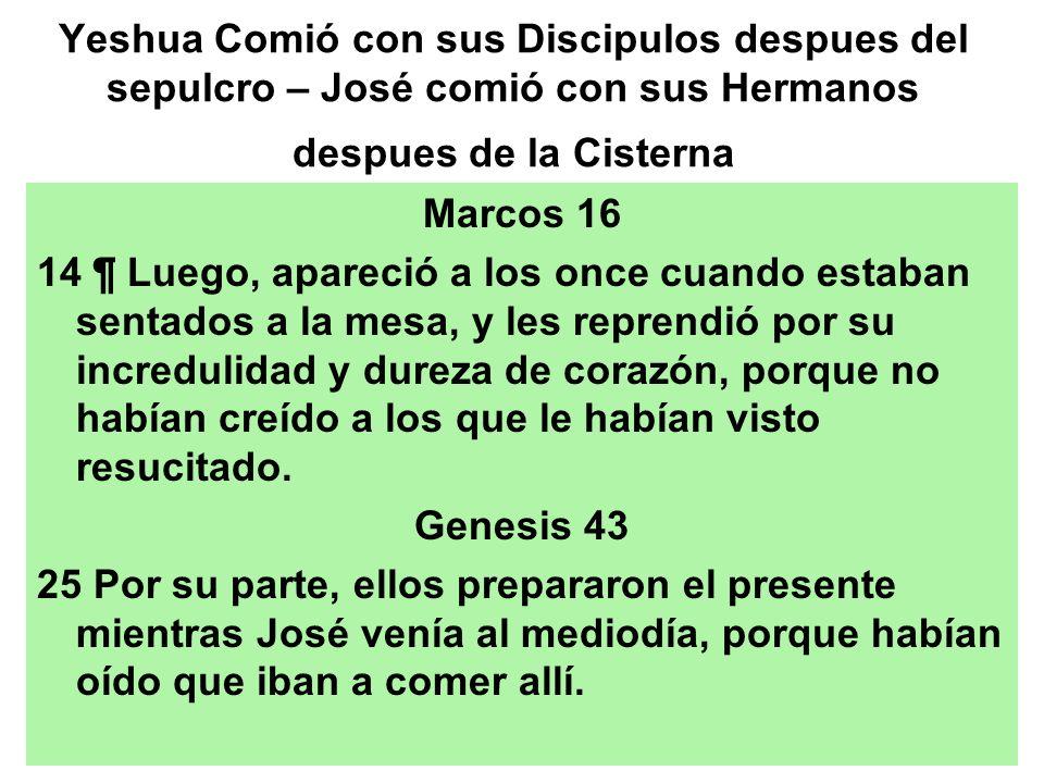 Yeshua Comió con sus Discipulos despues del sepulcro – José comió con sus Hermanos despues de la Cisterna
