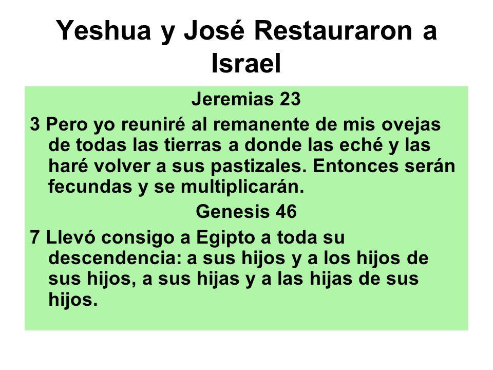 Yeshua y José Restauraron a Israel