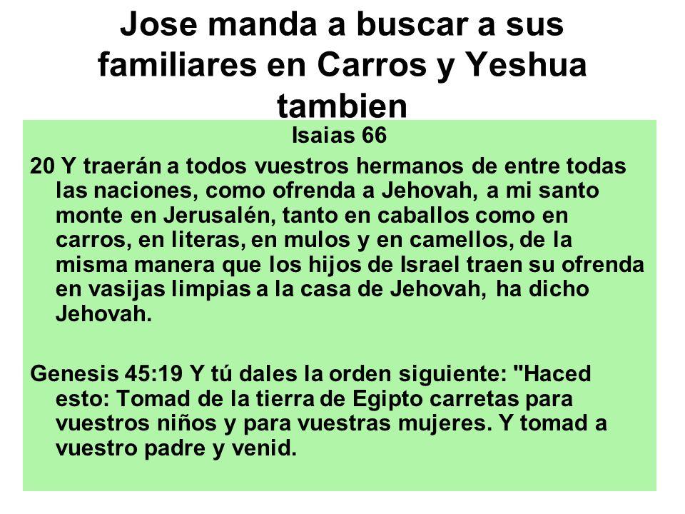 Jose manda a buscar a sus familiares en Carros y Yeshua tambien