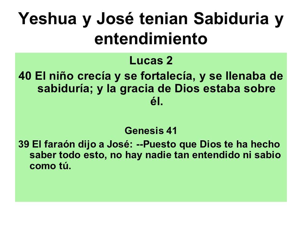 Yeshua y José tenian Sabiduria y entendimiento