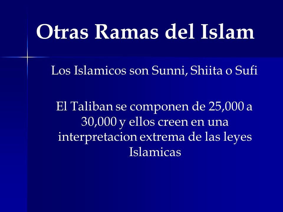 Los Islamicos son Sunni, Shiita o Sufi