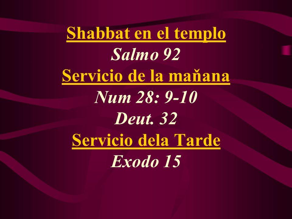 Shabbat en el templo Salmo 92 Servicio de la maňana Num 28: 9-10 Deut