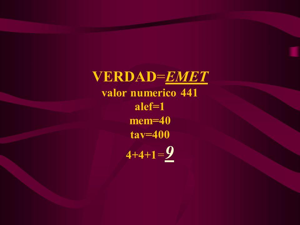 VERDAD=EMET valor numerico 441 alef=1 mem=40 tav=400 4+4+1=9