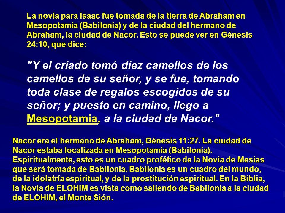 La novia para Isaac fue tomada de la tierra de Abraham en Mesopotamia (Babilonia) y de la ciudad del hermano de Abraham, la ciudad de Nacor. Esto se puede ver en Génesis 24:10, que dice:
