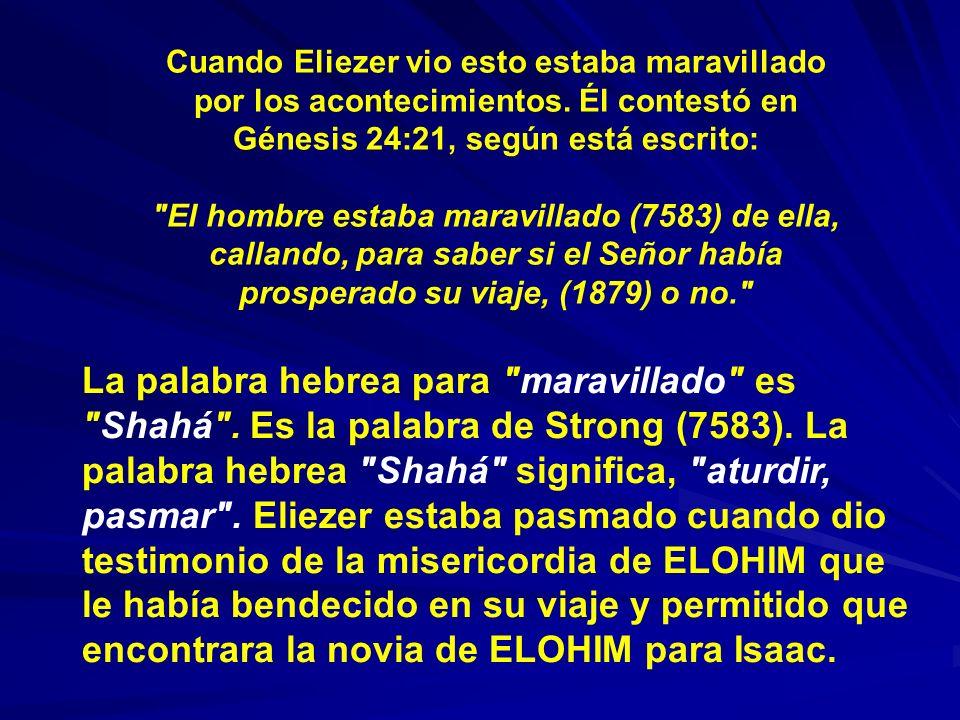 Cuando Eliezer vio esto estaba maravillado por los acontecimientos