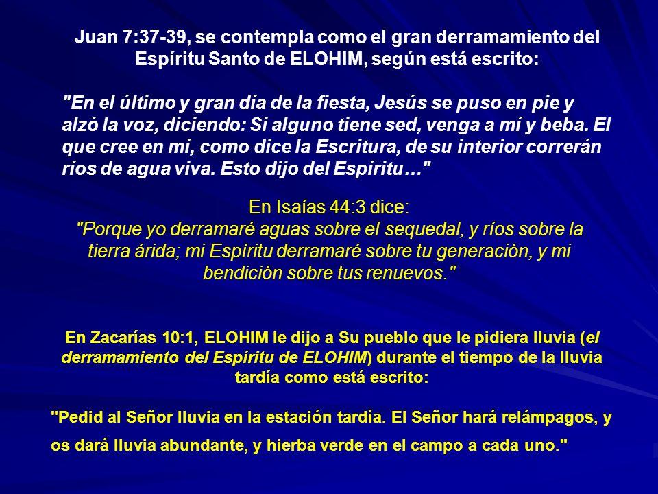 Juan 7:37-39, se contempla como el gran derramamiento del Espíritu Santo de ELOHIM, según está escrito: