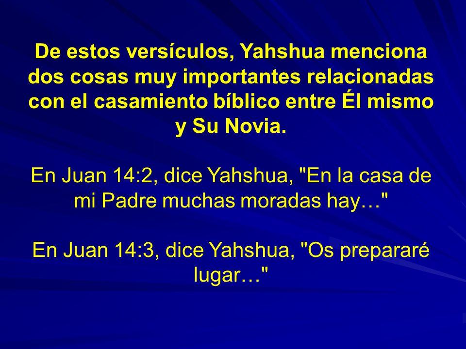 En Juan 14:3, dice Yahshua, Os prepararé lugar…