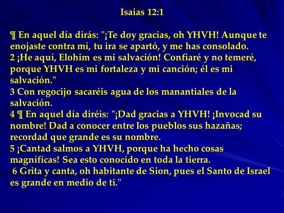 Isaias 12:1¶ En aquel día dirás: ¡Te doy gracias, oh YHVH! Aunque te enojaste contra mí, tu ira se apartó, y me has consolado.