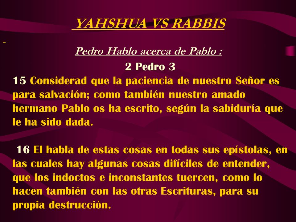 Pedro Hablo acerca de Pablo :