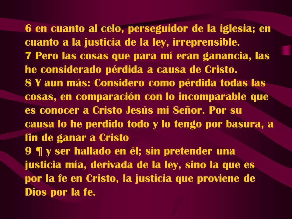 6 en cuanto al celo, perseguidor de la iglesia; en cuanto a la justicia de la ley, irreprensible.