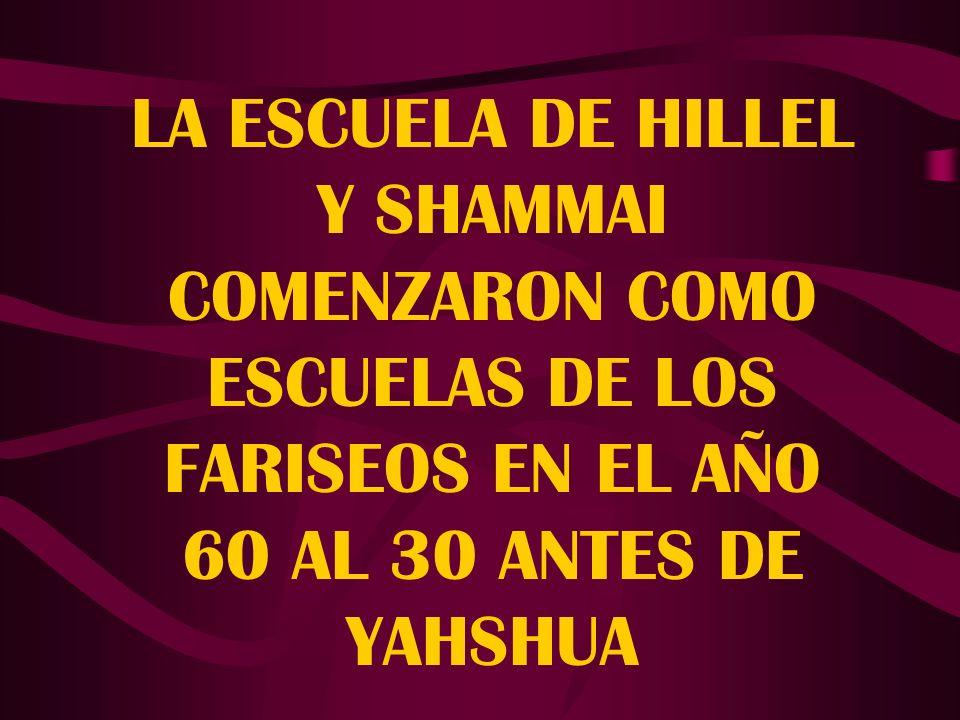 LA ESCUELA DE HILLEL Y SHAMMAI COMENZARON COMO ESCUELAS DE LOS FARISEOS EN EL AÑO 60 AL 30 ANTES DE YAHSHUA