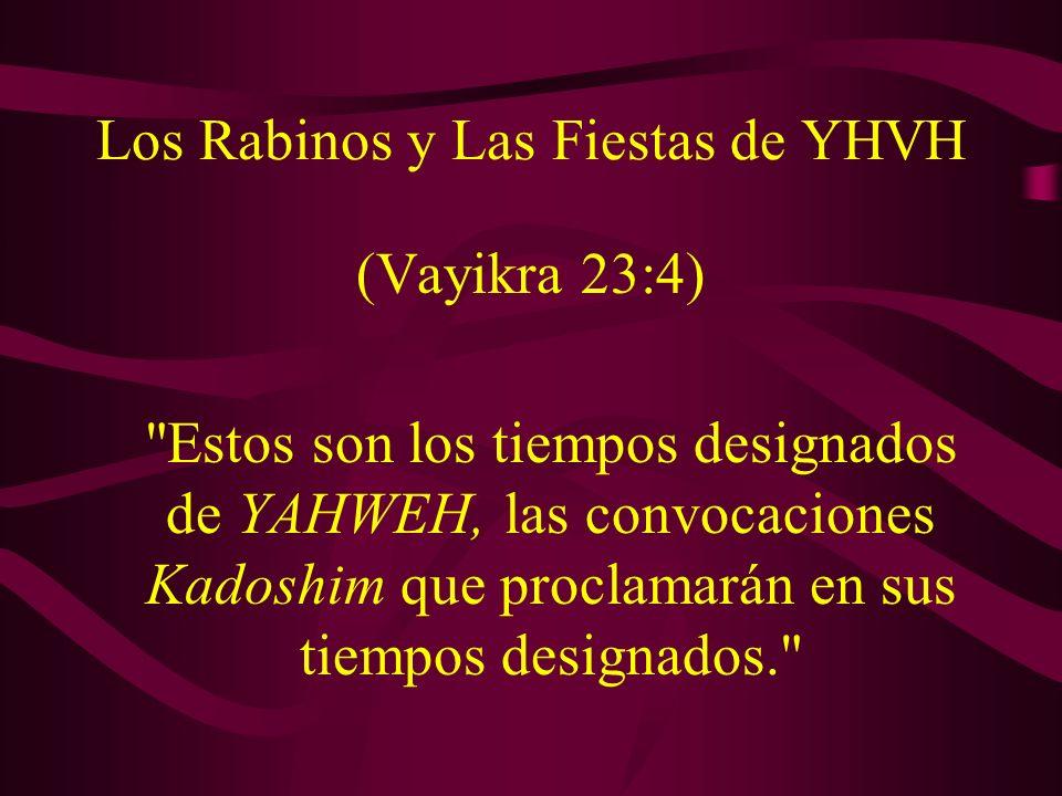 Los Rabinos y Las Fiestas de YHVH