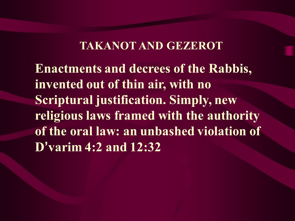 TAKANOT AND GEZEROT