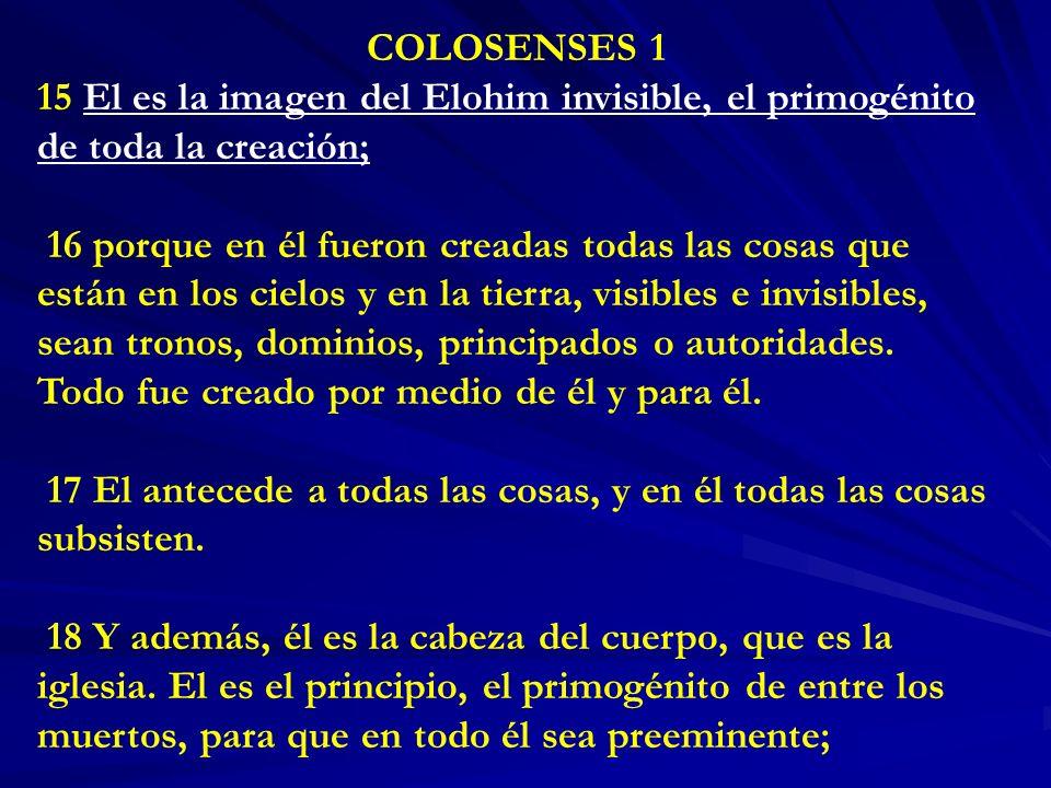 COLOSENSES 1 15 El es la imagen del Elohim invisible, el primogénito de toda la creación;