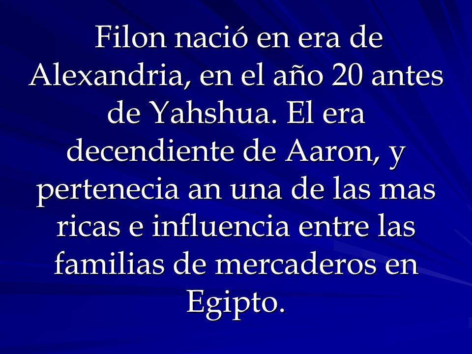 Filon nació en era de Alexandria, en el año 20 antes de Yahshua