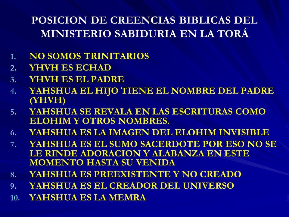 POSICION DE CREENCIAS BIBLICAS DEL MINISTERIO SABIDURIA EN LA TORÁ
