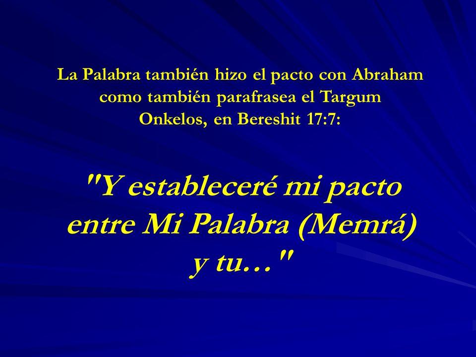 Y estableceré mi pacto entre Mi Palabra (Memrá) y tu…