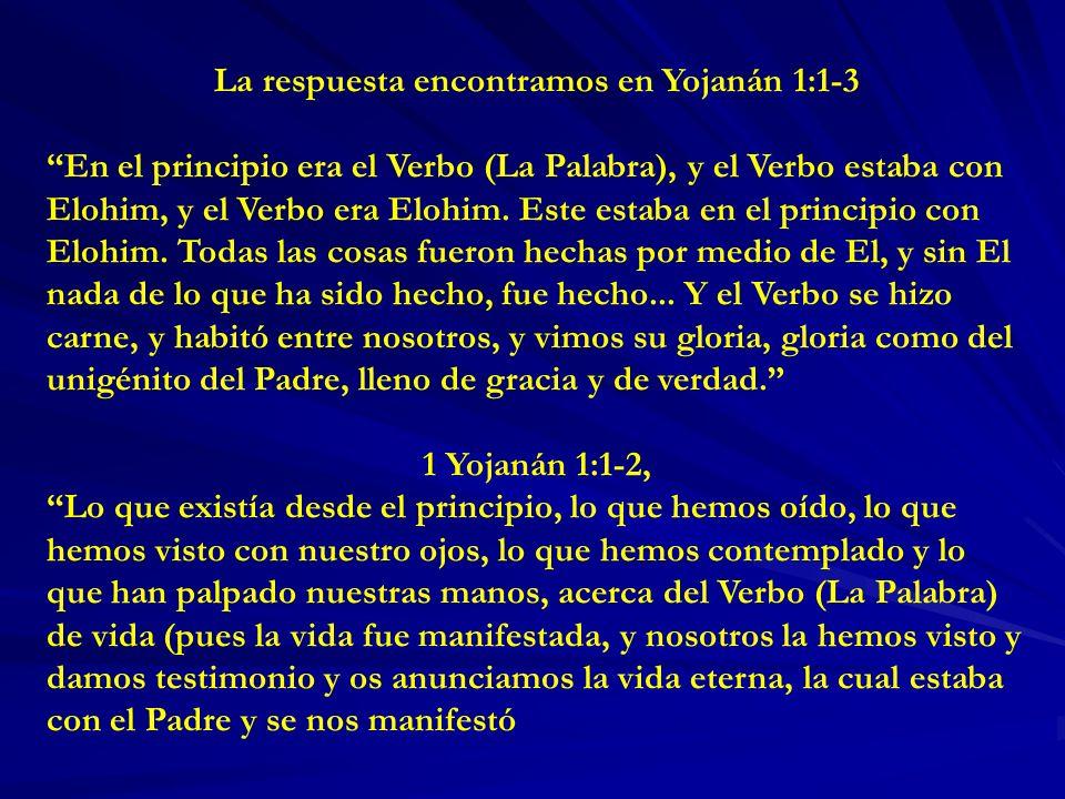 La respuesta encontramos en Yojanán 1:1-3