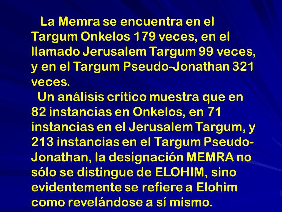 La Memra se encuentra en el Targum Onkelos 179 veces, en el llamado Jerusalem Targum 99 veces, y en el Targum Pseudo-Jonathan 321 veces.