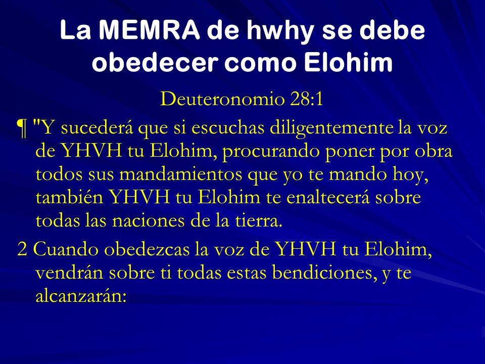 La MEMRA de hwhy se debe obedecer como Elohim