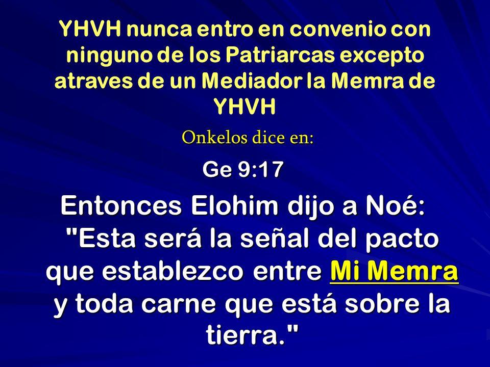 YHVH nunca entro en convenio con ninguno de los Patriarcas excepto atraves de un Mediador la Memra de YHVH
