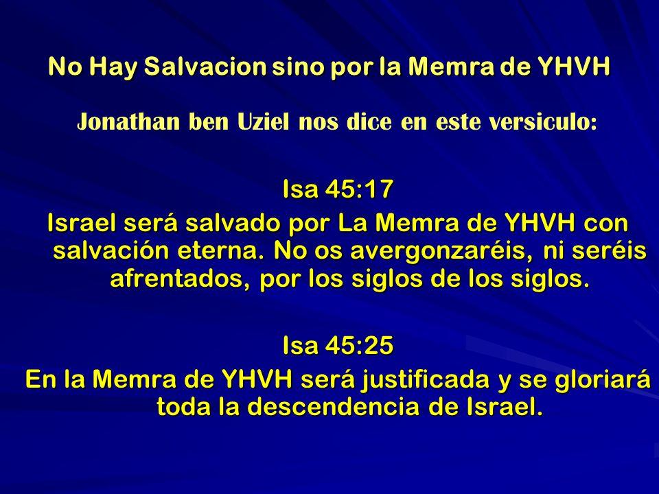 No Hay Salvacion sino por la Memra de YHVH