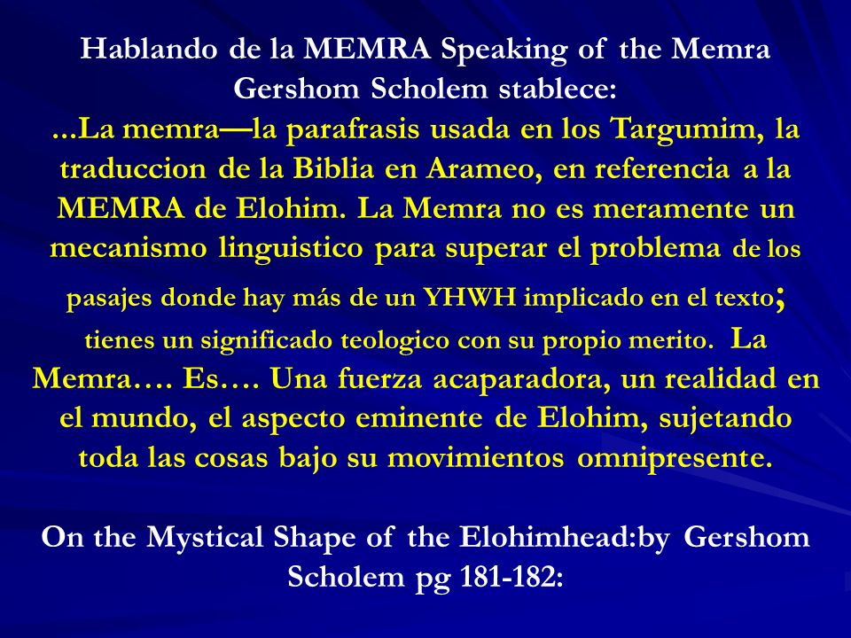Hablando de la MEMRA Speaking of the Memra Gershom Scholem stablece: