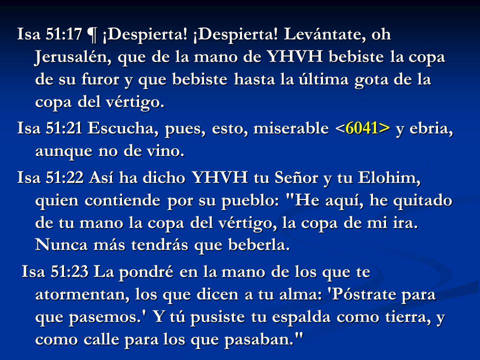 Isa 51:17 ¶ ¡Despierta. ¡Despierta