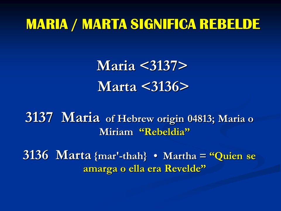 MARIA / MARTA SIGNIFICA REBELDE