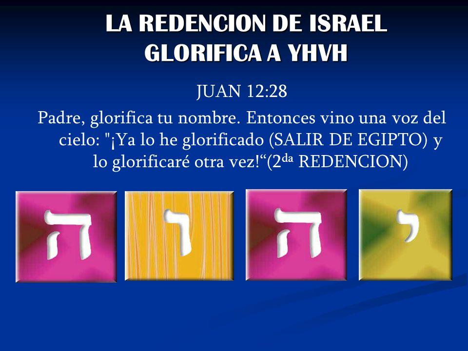 LA REDENCION DE ISRAEL GLORIFICA A YHVH