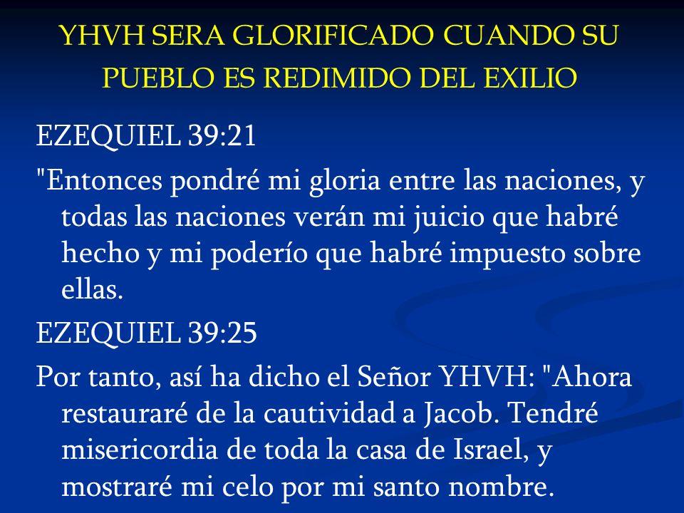 YHVH SERA GLORIFICADO CUANDO SU PUEBLO ES REDIMIDO DEL EXILIO