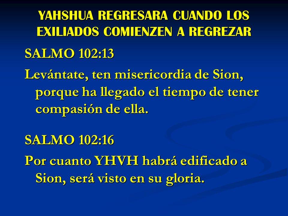 YAHSHUA REGRESARA CUANDO LOS EXILIADOS COMIENZEN A REGREZAR