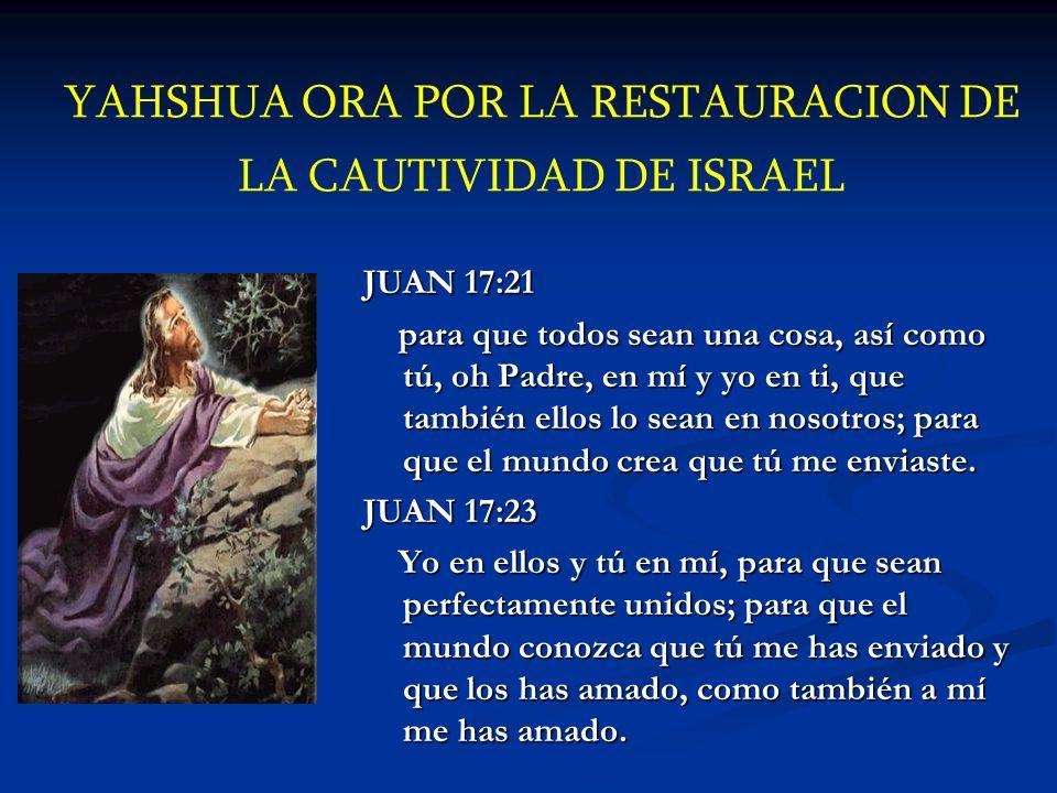 YAHSHUA ORA POR LA RESTAURACION DE LA CAUTIVIDAD DE ISRAEL