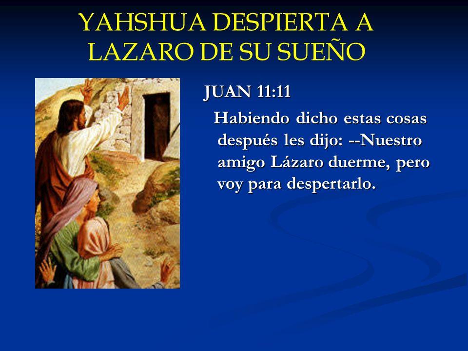 YAHSHUA DESPIERTA A LAZARO DE SU SUEÑO