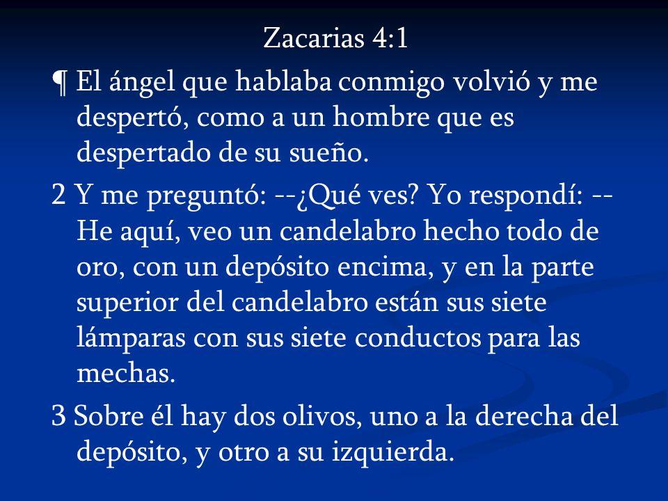 Zacarias 4:1 ¶ El ángel que hablaba conmigo volvió y me despertó, como a un hombre que es despertado de su sueño.