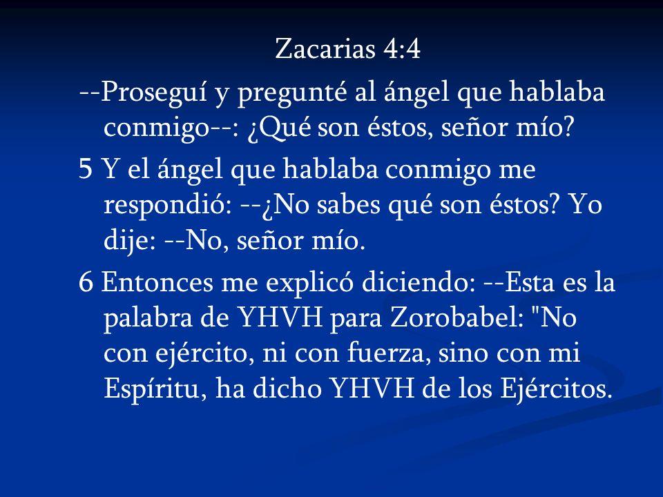 Zacarias 4:4 --Proseguí y pregunté al ángel que hablaba conmigo--: ¿Qué son éstos, señor mío